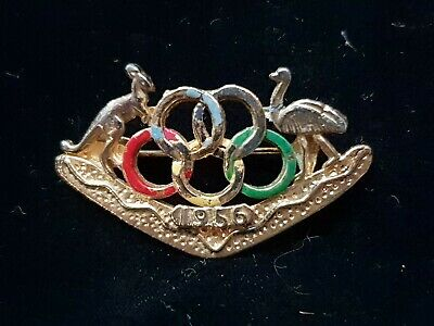 1956 Olympic Rings  Australia Crest Brooch Badge
