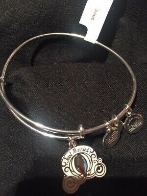 NEW Disney Parks ALEX AND ANI Just Married Cinderella Carriage SILVER Bracelet