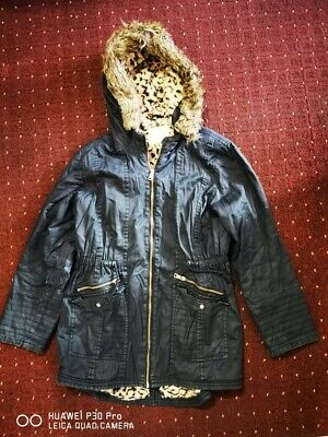 Girls Jacket Kids Padded Fur Hooded Quilted Winter Puffa Parka Coat Navy 12-13Y