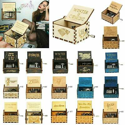 Vintage Music Box Engraved Hand Crank Wooden Music Boxes Interesting Toys Gifts