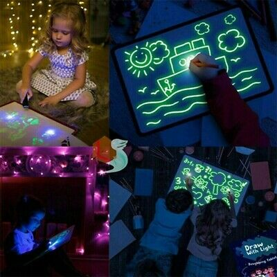 Light Up Magic Fluorescent Drawing Board Kit Fun Developing Toy Kids Educational