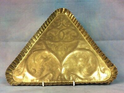 Arts & Crafts Brass Tray Decorated With Entwined Foliage & Birds Free Uk Postage