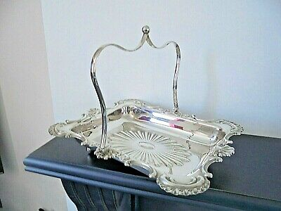 Superb Silver Plated Swing Handle Fruit/ Bread Basket Ball Feet