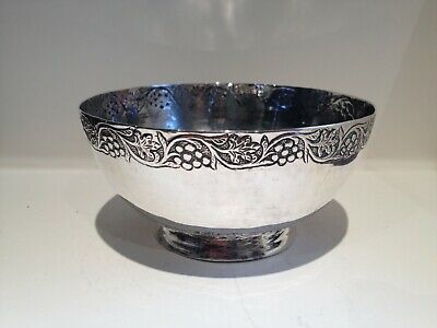 Solid Silver Antique Bowl, beautiful repousse work to rim and base, 122 grams