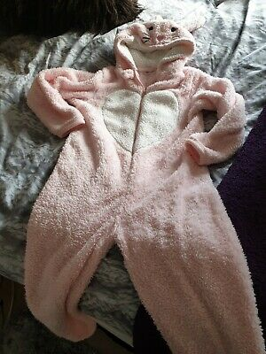 Girls Sleepsuit Pink All In One Rabbit Glittery Age 10-11
