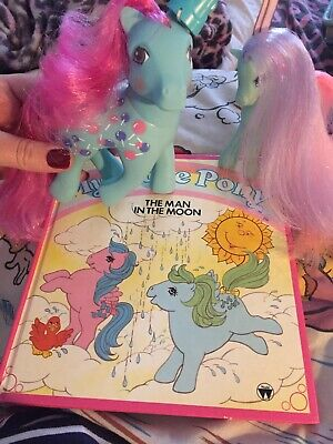 Vintage My Little Pony Sweet Tooth Ivy Damsel Blue Hat + Man In The Moon Book