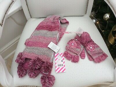Girls Scarves & Glove/Mittens Set - Size L - Bnwt