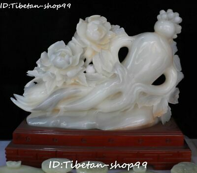 66cm China Natural White Jade Carving Fengshui Peony Flower Ginseng Panax Statue