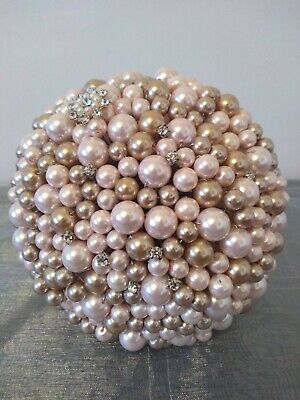Ready Made Pearl Wedding Bouquet. Pink and Gold Wedding Bouquet.