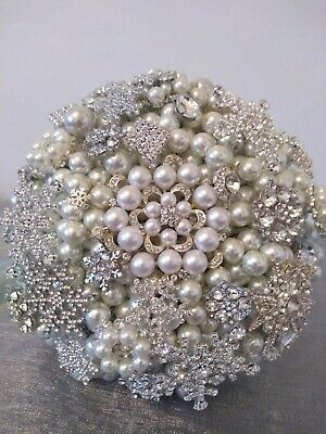 Ready Made Pearl and Brooch Wedding Bouquet. Winter Wedding Bouquet