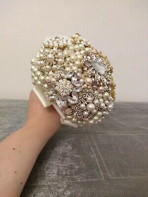 Ready Made Pearl and Brooch Wedding Bouquet. Pink and Ivory Bouquet