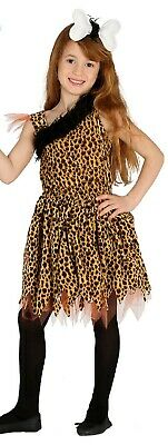 Girls Leopard Print Crazy Cave Girl Cavewoman Fancy Dress Costume Outfit 5-12yrs