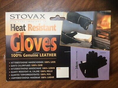 Stovax Heat Resistant Gloves 100% Leather Extra Long Bnwt