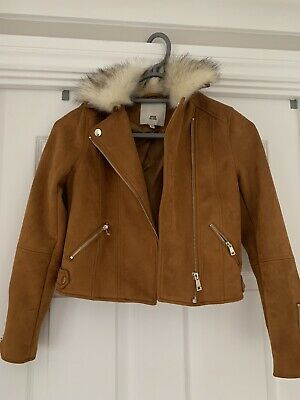 Girls River island Brown Suede Coat Age 9-10