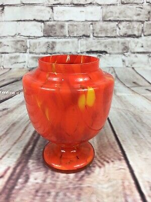 Vintage Bohemian Art Glass Tango Splatter Vase Red Orange Czech
