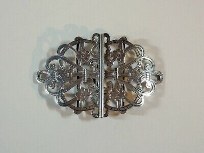 Exceptional Antique English Solid Silver Scrolled & Etched Buckle 1900 Hallmark