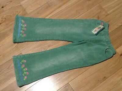 6-7 Years Girls Green Corduroy Padded Lined Embroided Trousers
