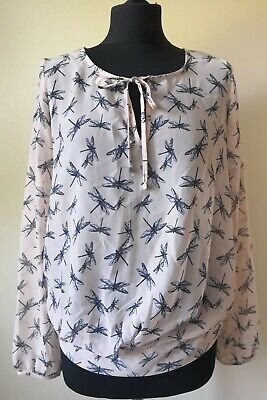 Next Blouse Long Sleeve Top Dragonfly Pink Sheer Womens Girls Size 8 RRP £26
