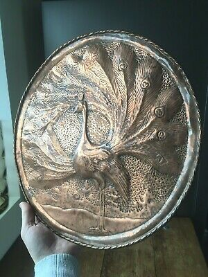Large Art Nouveau Peacock Hammered Hearts Copper Charger Wall Plate Plaque Decor