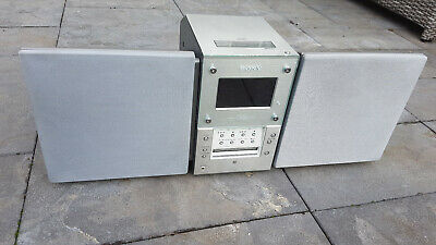 * Sony Compact CMT-MD1 SILVER Hifi System CD Player Mini Disc Radio Remote *
