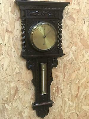 Vintage Oak Barley Twist Cased Aneroid Barometer with Thermometer [5725]
