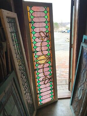 Sg 3094 Antique Stained Glass Transom Window Ribbons 21 X 78.5