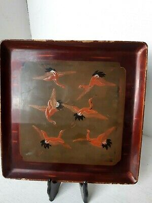 Antique Meiji Japanese Carved Wood Wooden Lacquer Square Plate Dish Cranes Bird