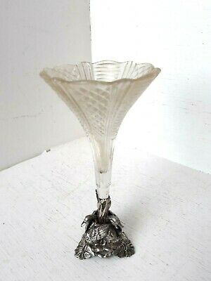 Antique Victorian Silver Plate Cut Glass Crystal Epergne Vase Flower Centerpiece