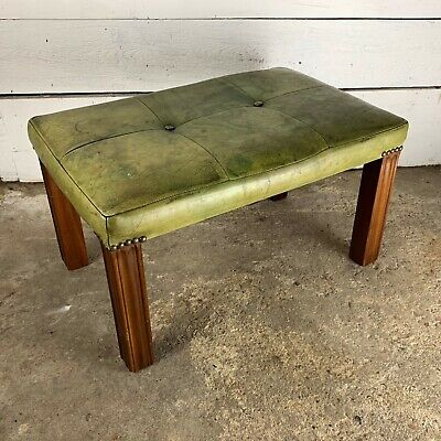 Vintage Green Studded Leather Foot Stool with Mahogany Legs