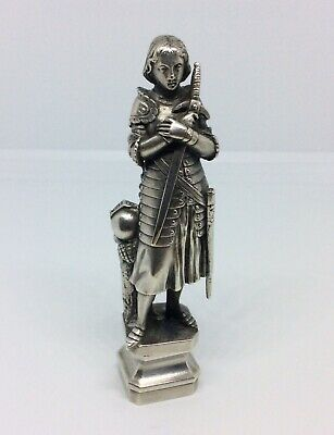 Rare Antique C1890 French Joan Of Arc Silver Plated Desktop Seal Wax Stamp