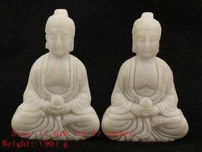 2 Chinese White Jade Statue Guanyin Spiritual Old Hand-Carved Collection Gifts
