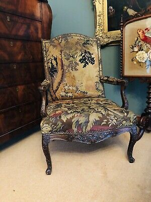 Louis Xiv Style Carved Walnut Verdure Tapestry Embroidered Fauteuils Armchair
