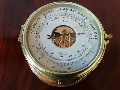 Vintage German Brass Schatz Royal Mariner Bulkhead Marine Barometer Ship Yacht