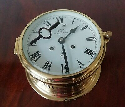 Vintage German Brass Cased Marine Schatz Royal Mariner Bulkhead Clock Ship Yacht