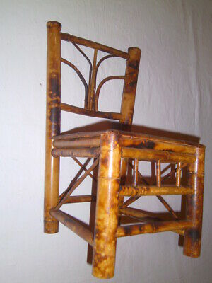 Vintage Tiger Bamboo Rattan Doll Chair Chinese Asian Mid Century Great for Plant