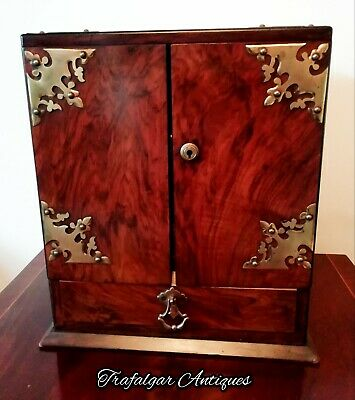 Antique Victorian Vintage Walnut Cigar Humidor Smokers Cabinet Box Safe C1890