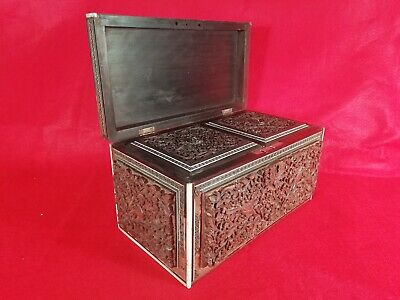 Antique Victorian Anglo Indian Carved Sandalwood & Sadeli Double Tea Caddy C1840