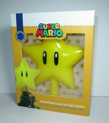 "Super Mario MISB 6.25"" Super Star Light-Up Holiday Christmas Tree Topper Sunrise"