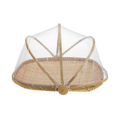 Handmade Bamboo Woven Bug Proof Wicker Basket with Gauze Food Fruit Cover  H1