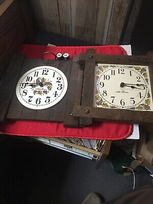 Two Seth Thomas Wooden Wall Hanging Battery Operated Clocks Country Pine Wood