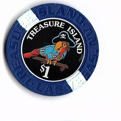Sharp Obsolete First Issue $1 Chip From Treasure Island Casino In Vegas