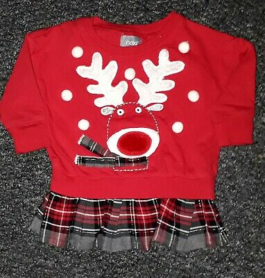 Baby Girls Christmas Top With Attached Tartan Skirt 3-6 Months Next