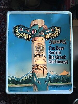 Vintage Olympia Beer Light Sign Totem Pole Waterfall Mountains READ! condition
