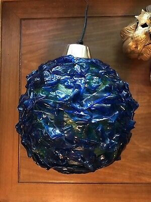 Vintage Mid Century BRUTALIST Lucite Lava Rock Candy Hanging Swag Lamp Spaghetti