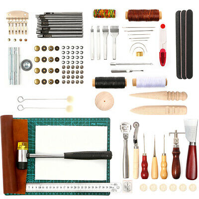Leather Tool Kit DIY Leather Craft Working Punch Stitching Set With Cutting Mat