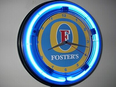 Foster's Australia Beer Bar Man Cave Blue Neon Advertising Wall Clock Sign