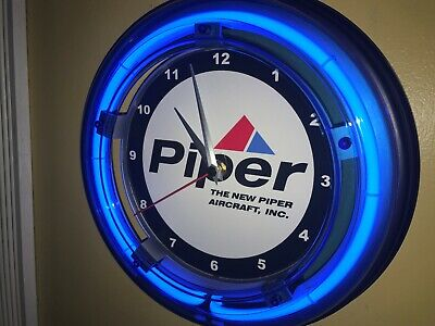 Piper Logo Aircraft Airplane Pilot Garage Advertising Man Cave Neon Clock Sign