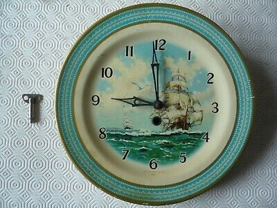 """Vintage 1930""""S Smith's Ship Scene Tin Plate Wall Clock With Key Not Working"""