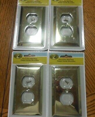 New Hampton Bay Century Polished  Brass Steel Wall Outlet  Plate - Lot Of 4