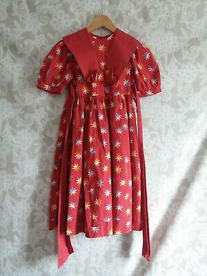 Vintage Laura Ashley Mother And Child Prairie Dress She 5-6 In Red With Bold...